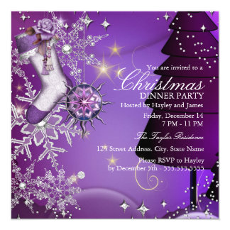 Purple Crystal Snowflake Christmas Dinner Party 4 13 Cm X 13 Cm Square Invitation Card