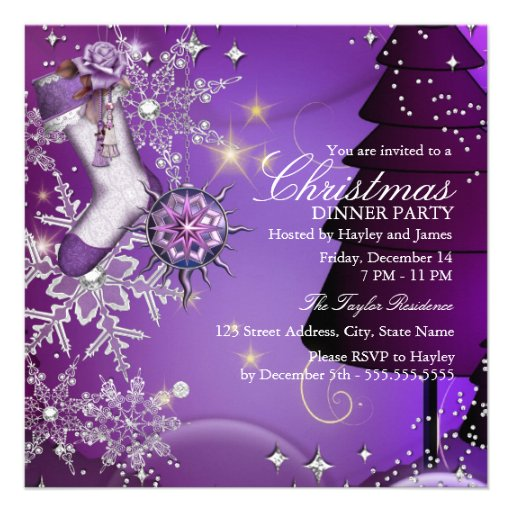Purple Crystal Snowflake Christmas Dinner Party 4 Announcements