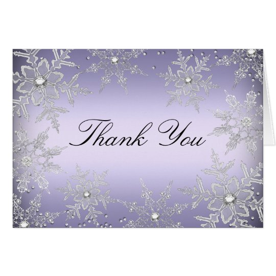 Purple Crystal Snowflake Christmas Thank You Card