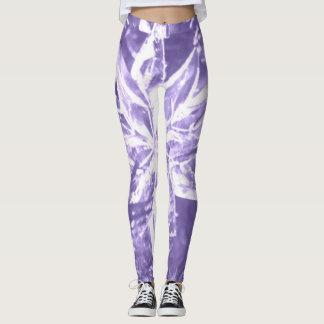 Purple Crystal Star Pattern Leggings