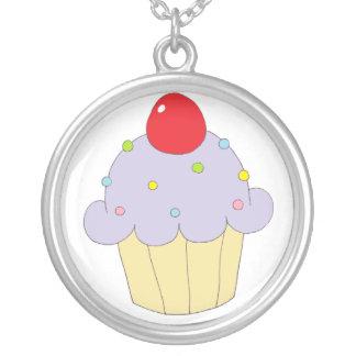 Purple Cupcake Round Pendant Necklace
