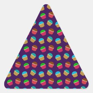 Purple cupcake pattern triangle stickers