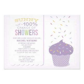Purple Cupcake Sprinkles Baby Shower Invitation