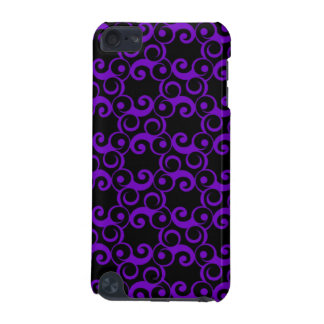 Purple Curlies on Black iPod Touch (5th Generation) Cover