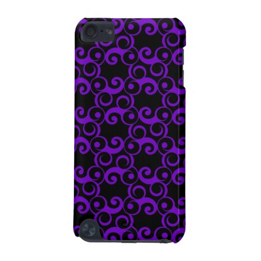 Purple Curlies on Black iPod Touch 5G Cover