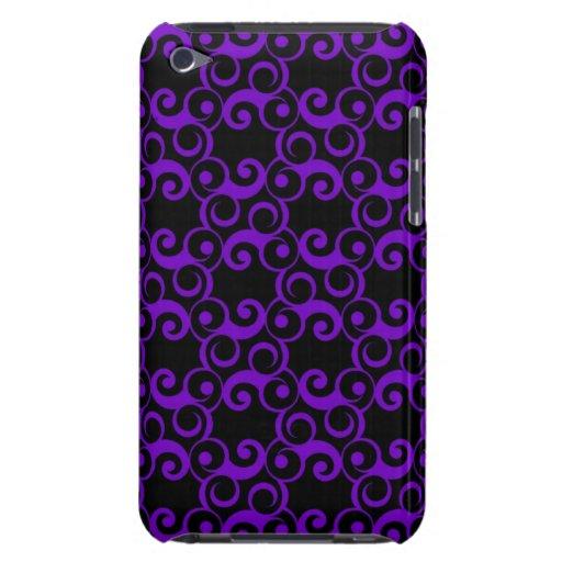 Purple Curlies on Black iPod Touch Case