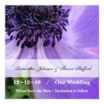 """Purple Curls 5.25"""" Square Invitation Card"""
