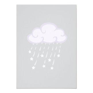 Purple Curls Rain Cloud With Falling Stars 13 Cm X 18 Cm Invitation Card