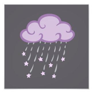 Purple Curls Rain Cloud With Falling Stars Photo Print