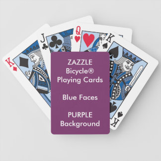 PURPLE Custom Bicycle® Blue Face Playing Cards