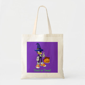 Purple Custom Halloween Treat Bags Wizard Penguin