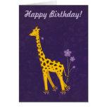 Purple Customisable Text Funny Giraffe Birthday Greeting Card