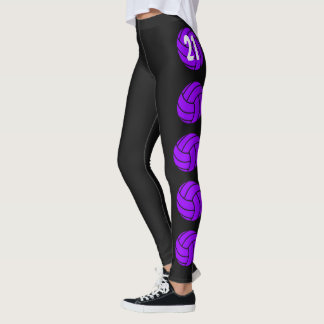 Purple Customizable Volleyball Leggings