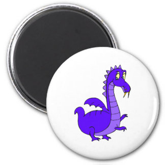 Purple Cute Cuddly Dragon 6 Cm Round Magnet