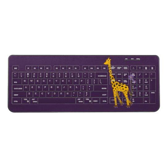 Purple Cute Funny Skating Cartoon Giraffe Wireless Keyboard