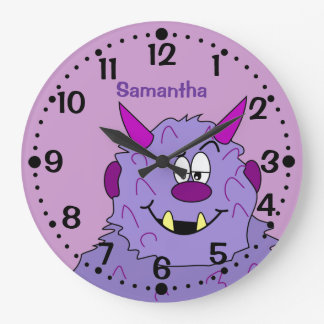 Purple Cute Monster Personalized Kids Wall Clock