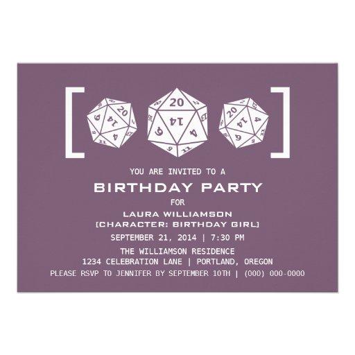 Purple D20 Dice Gamer Birthday Party Invite