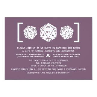 "Purple D20 Dice Gamer Wedding Invitation 5"" X 7"" Invitation Card"