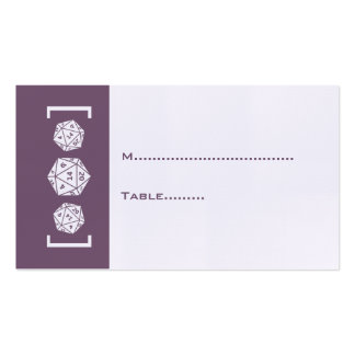 Purple D20 Dice Gamer Wedding Place Card Business Card Templates