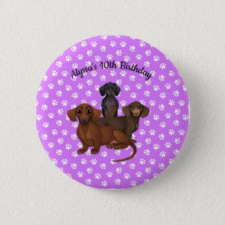 Purple Dachshund Button Pin