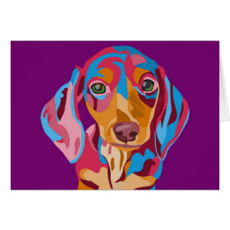Purple Dachshund Card