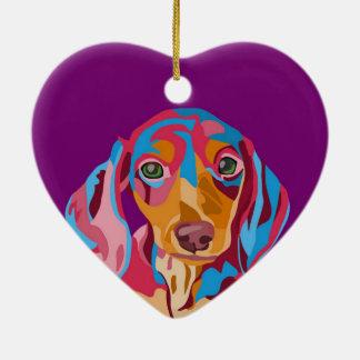 Purple Dachshund Ceramic Heart Decoration
