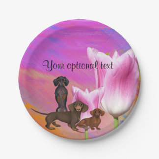 Purple Dachshund Paper Party Plates