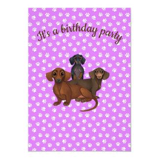 Purple Dachshund Party Invitation
