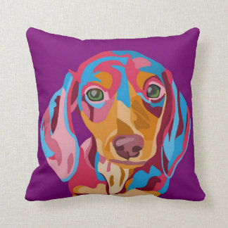 Purple Dachshund Throw Pillow