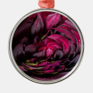 Purple Dahlia Silver-Colored Round Decoration