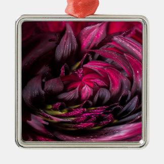 Purple Dahlia Silver-Colored Square Decoration