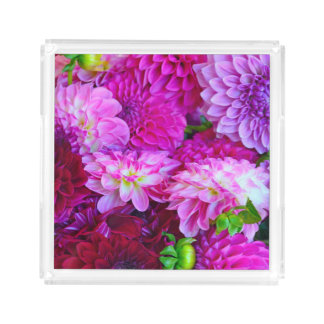 Purple dahlias acrylic tray