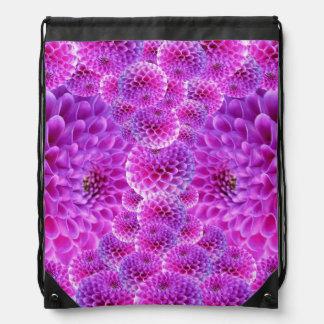 Purple Dahlias Drawstring Bag