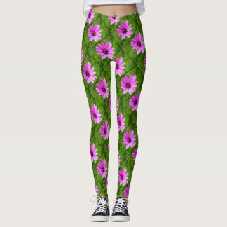 Purple Daisies design pattern leggings