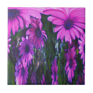 Purple Daisies Floral Abstract Art Ceramic Tile