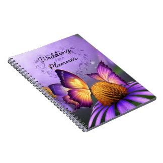 Purple Daisy and Butterflies Wedding Planner Notebooks