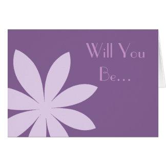 Purple Daisy Be My Flower Girl Greeting Card