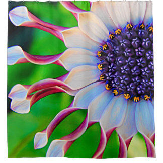Purple Daisy Floral Flower Girly Trendy Shower Curtain
