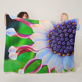Purple Daisy Floral Flower Modern Girly Fleece Blanket
