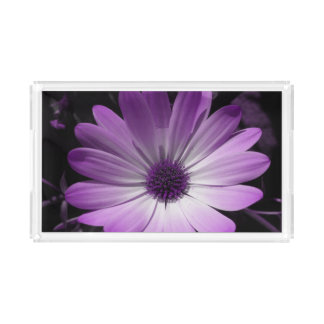 Purple Daisy Flower Acrylic Serving Tray