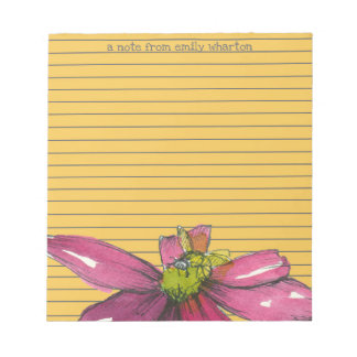 Purple Daisy Flower Bee Orange Stripe Notepad