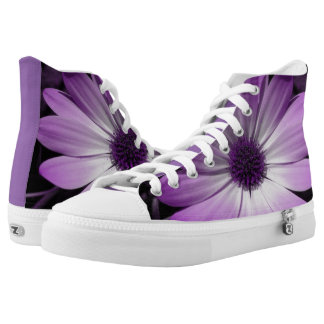 Purple Daisy Flower High Top Shoes