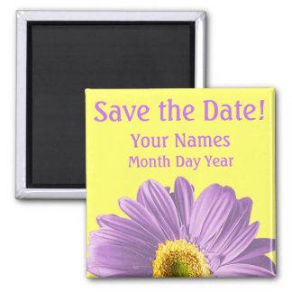 Purple Daisy Flower Save The Date Custom Square Magnet