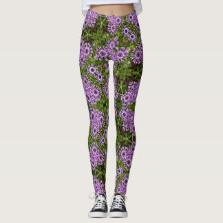 Purple Daisy Geometric Leggings