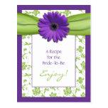 Purple Daisy Green Floral Bridal Shower Recipe Postcard