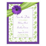 Purple Daisy Green Floral Damask Save the Date Personalised Invitation