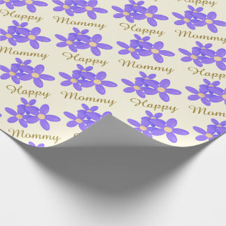 Purple Daisy Happy Mommy Wrapping Paper