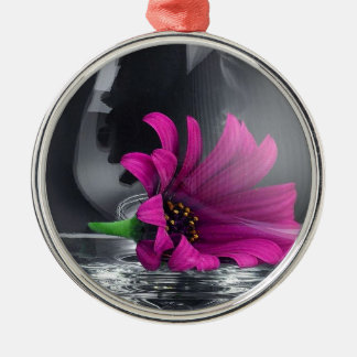 Purple Daisy in Glass Christmas Ornament
