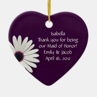 Purple Daisy Maid of Honor Personalized Ornament