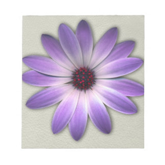 Purple Daisy on Stone Leather Print Notepad